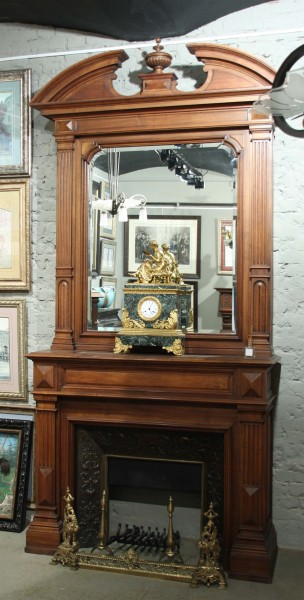 old fire mantel with mirror