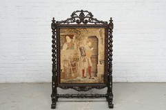 antique hunting style fireplace screen