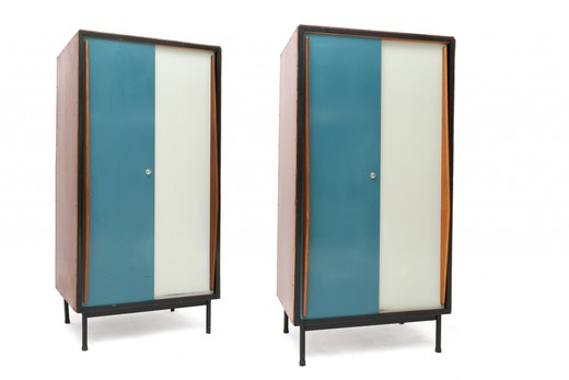 Pair of rare lacquered blue and white wardrobes
