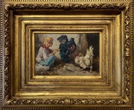 "Antique painting ""Boy and Birds"""